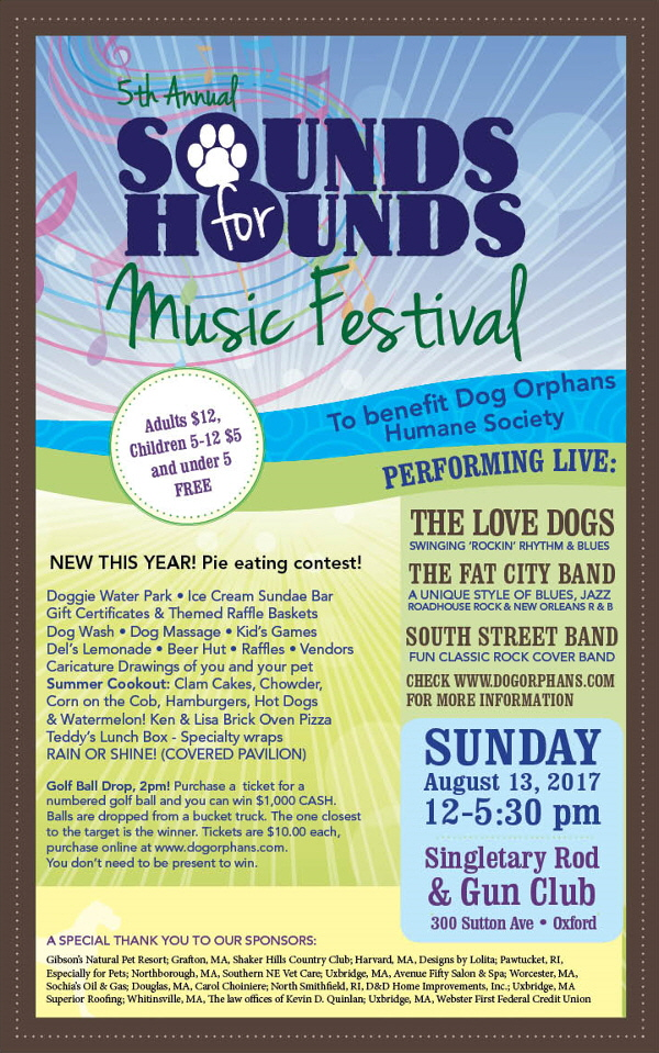 Sounds for Hounds Music Fest | August 13, 2017CLICK HERE FOR MORE INFO!